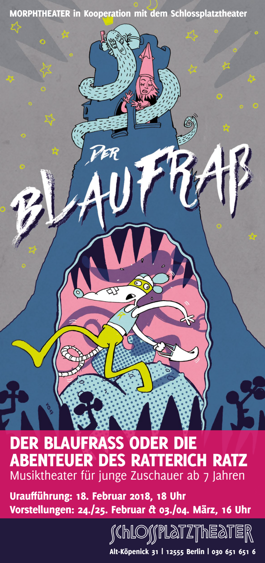 Plakatillustration Blaufraß Schlossplatztheater